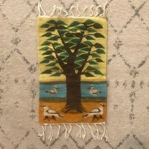 Mexican Woven Wool Tree, Water, & Bird Tapestry